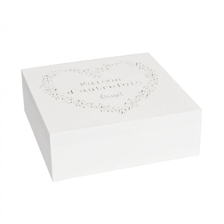 Wunderschöne weiße Holz Teedose