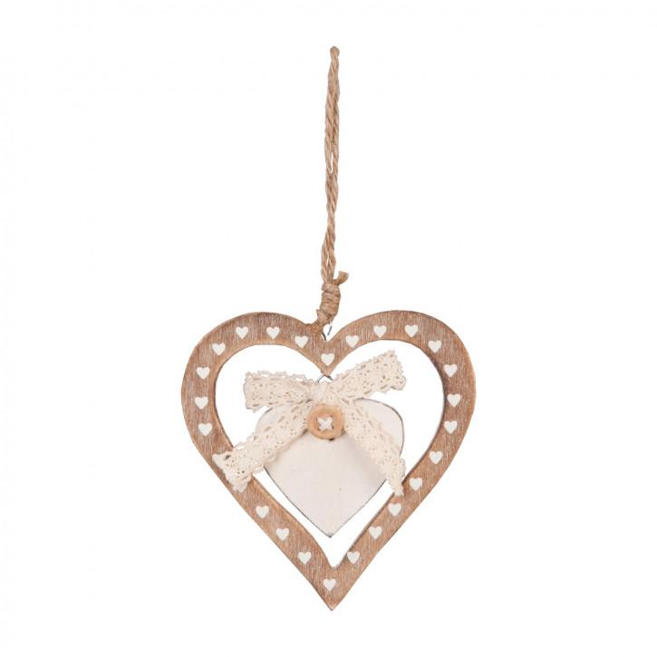 Anhänger Herz Herzen braun ca. 10 x 9 cm
