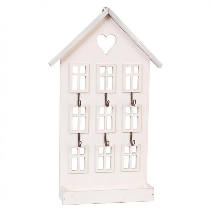Schlüsselhaken Haus weiß ca. 22 x 5 x 36 cm