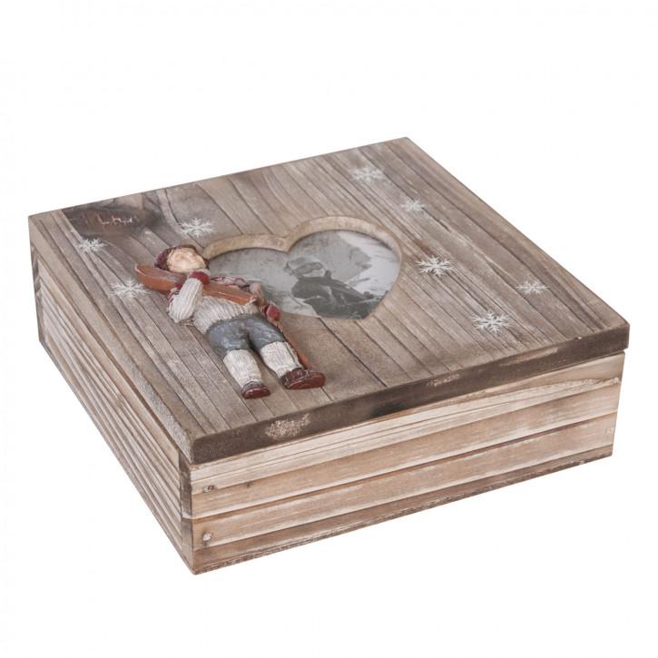 Büchse Kiste Herz braun ca. 15 x 15 x 6 cm
