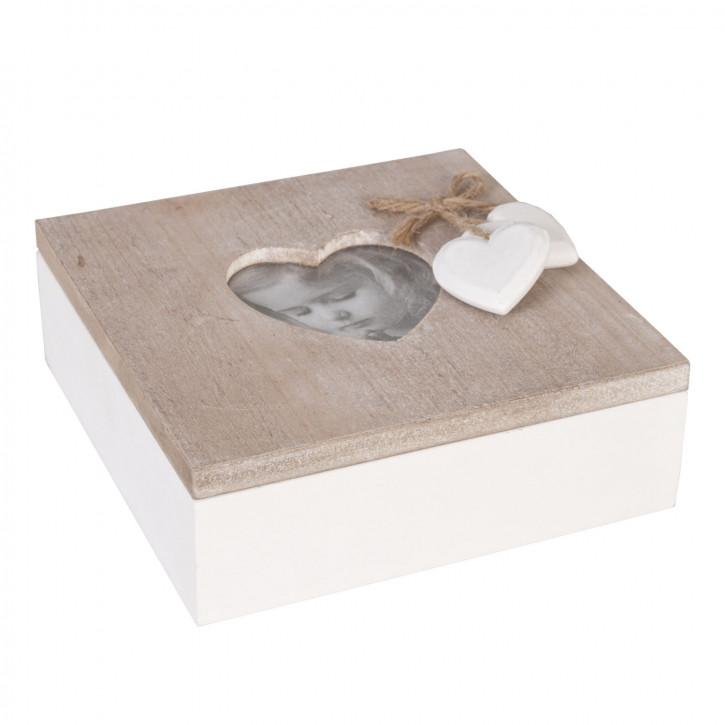 Büchse Kiste Herz natürlich ca. 15 x 15 x 6 cm