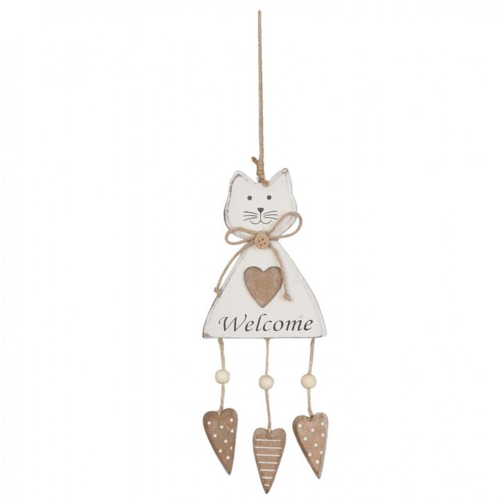 Holzdeko Anhänger Katze Welcome natürlich ca. 10 x 25 cm
