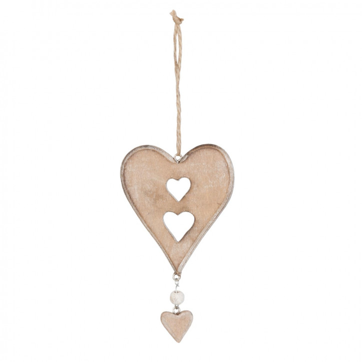 Anhänger Holzdeko Herz braun ca. 7 x 13 cm