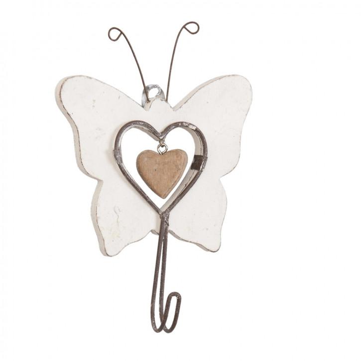 Garderobenhaken Schmetterling Herz natürlich ca. 10 x 4 x 16 cm
