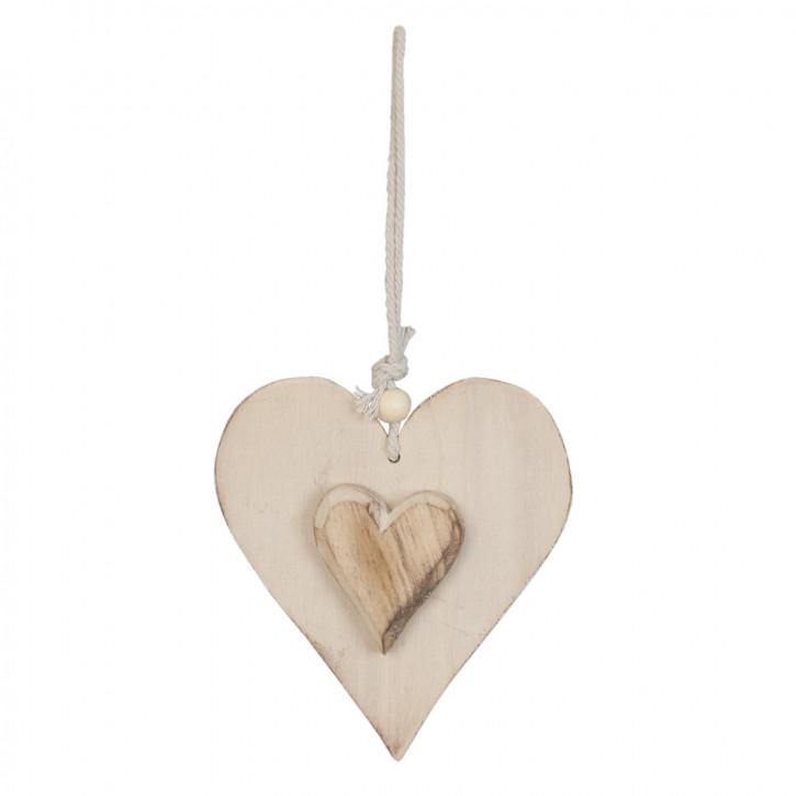 Holzdeko Anhänger Herz braun ca. 11 x 13 cm