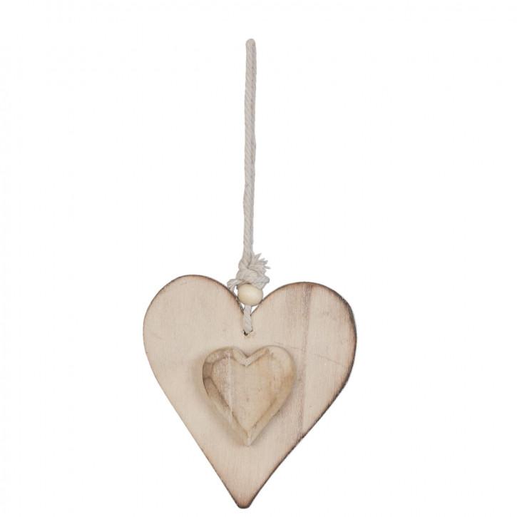 Holzdeko Anhänger Herz braun ca. 8 x 10 cm