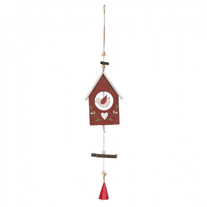 Holzdeko Vogelhaus Vogelhäuschen rot ca. 23 x 2 x 7 cm