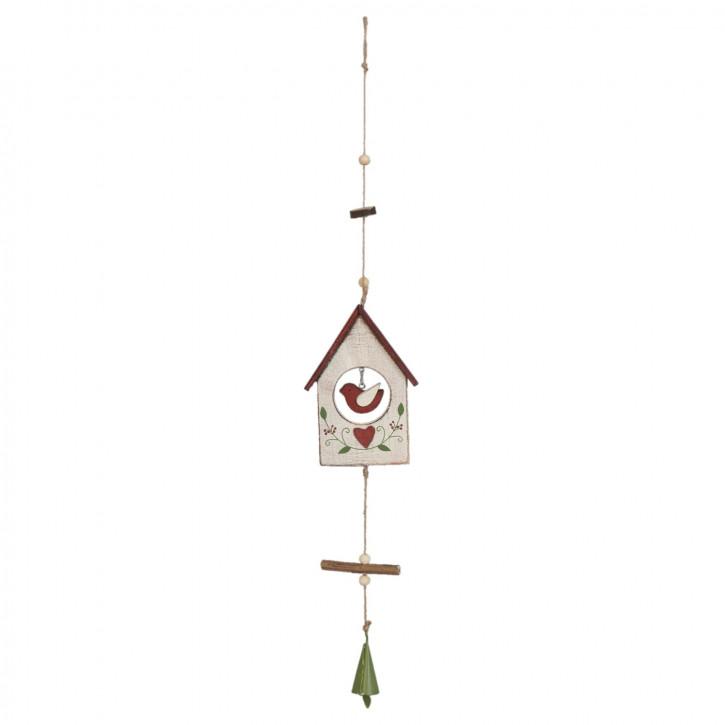 Holzdeko Vogelhaus Vogelhäuschen weiß ca. 23 x 2 x 7 cm