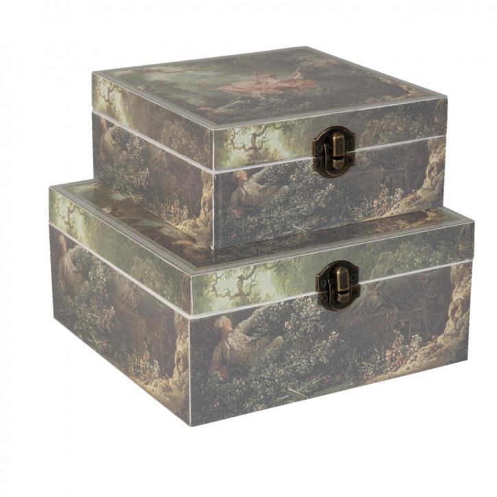 Holzkiste Schatulle Büchse Kiste 2er Set ca. 18 x 18 x 8 / 15 x 15 x 6 cm