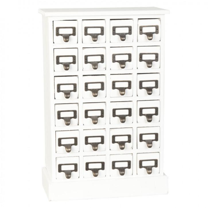 Schubladenschrank 24 Schubladen weiß ca. 31 x 15 x 46 cm