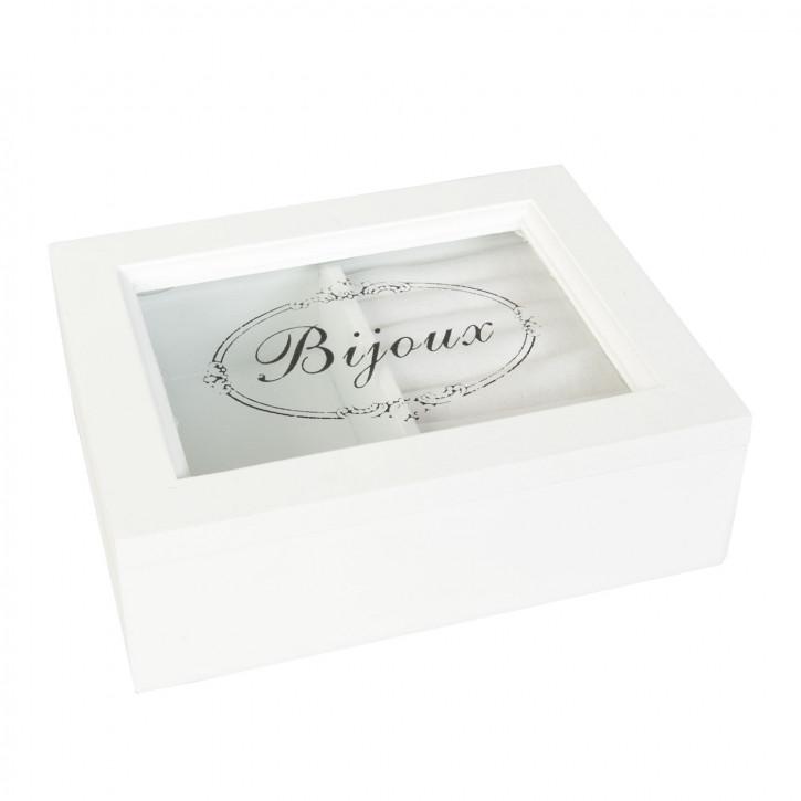 Schmuckkästchen Schmuckkasten Bijoux weiß ca. 15 x 12 x 5 cm