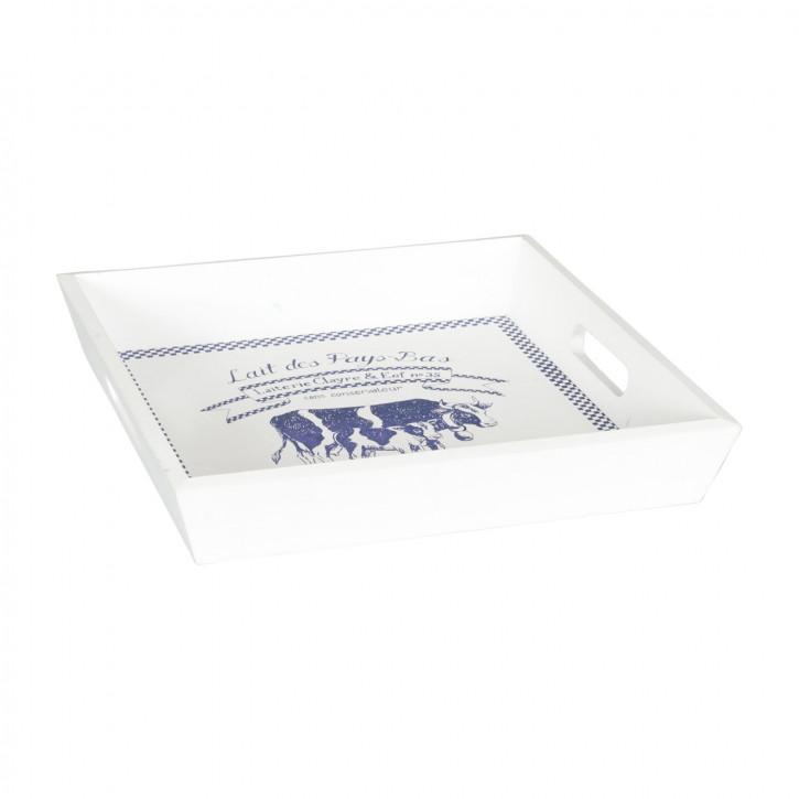 Tablett Holztablett 2er Set weiß ca. 40 x 40 x 5 / 30 x 30 x 5 cm