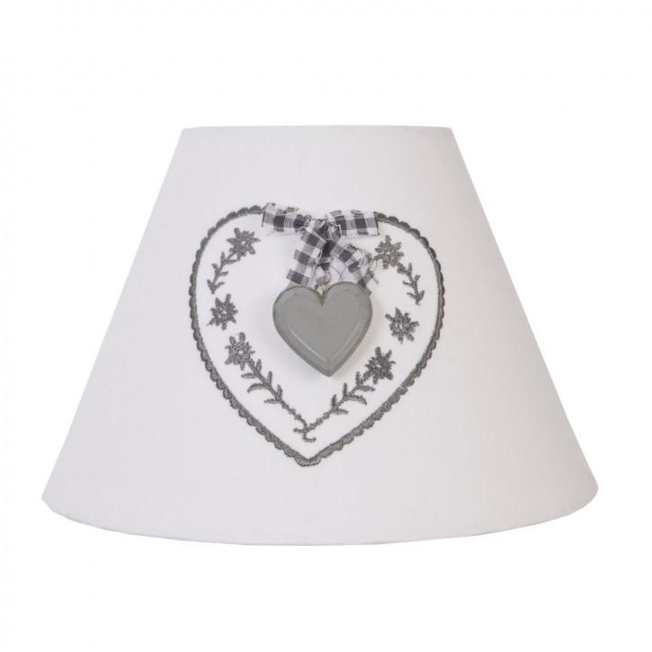 Lampenschirm weiß mit grauem HERZ ca. 22 x 15 cm/E27
