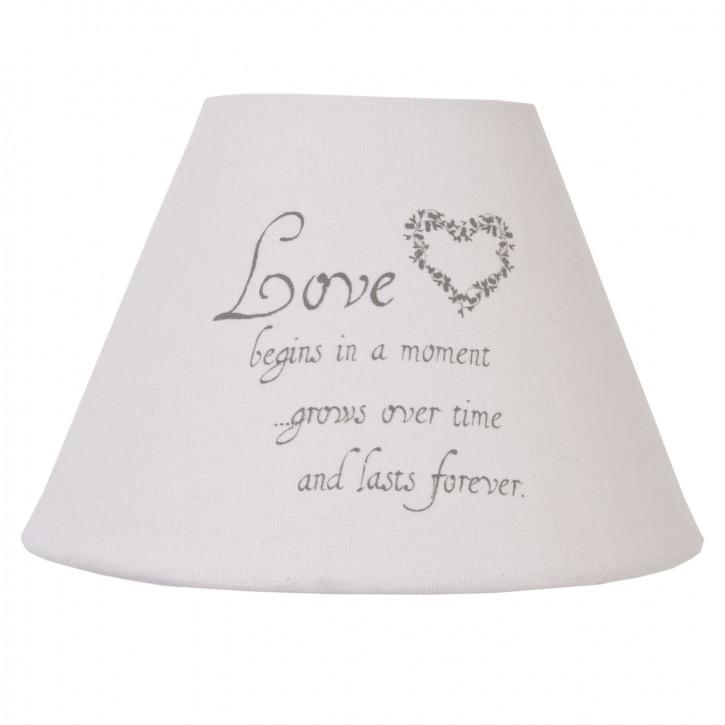 Lampenschirm weiß ~ LOVE ~ ca. 22 x 15 cm/E27