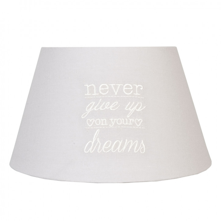 Lampenschirm ~ Never give up ~ grau 30 x 17 cm / E27
