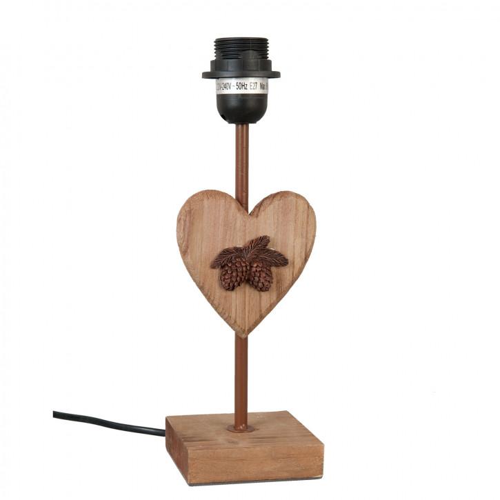 Tischlampe Stehlampe Lampenfuss Herz braun OHNE LEUCHTMITTEL ca. 10 x 10 x 31 cm E27 max. 60W
