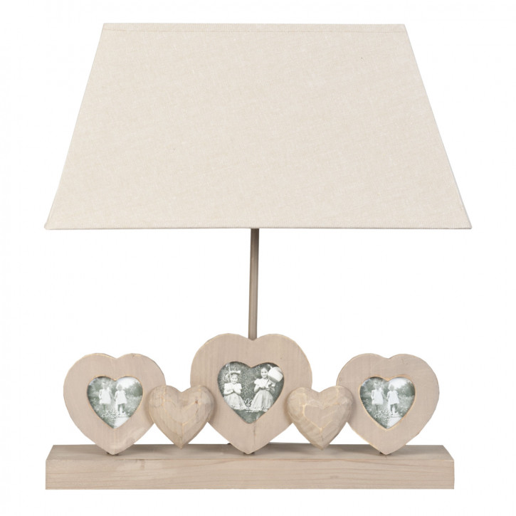 Tischlampe komplett Bilderrahmen Herzen natürlich ca. 42 x 20 x 47 cm E27 Max. 60W