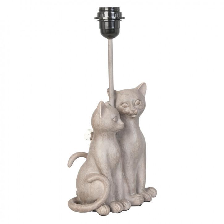 Lampenfuß zwei Katzen grau ca. 18 x 17 x 36 cm E27 Max. 60W