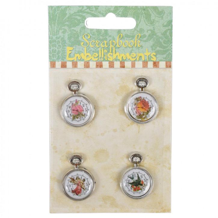 Vier Taschenuhren als Sticker