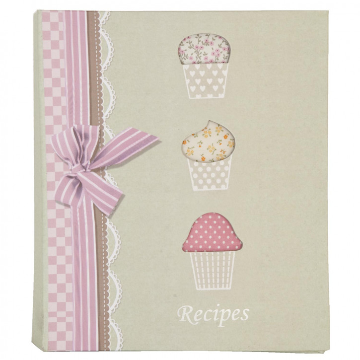 Rezeptebuch mit Muffin-Motiv, beige
