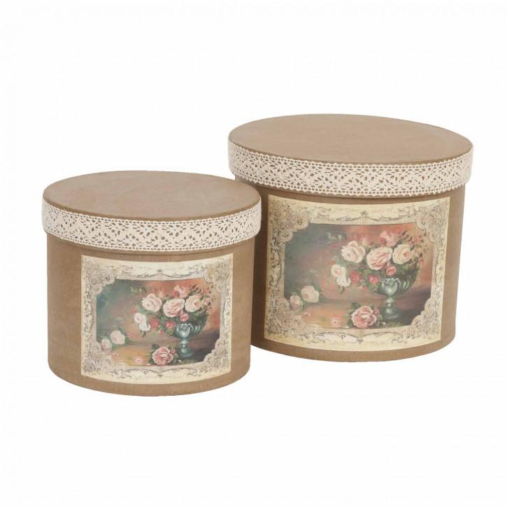 Aufbewahrungsboxen mit Blumenmotiv in 2 Größen, braun
