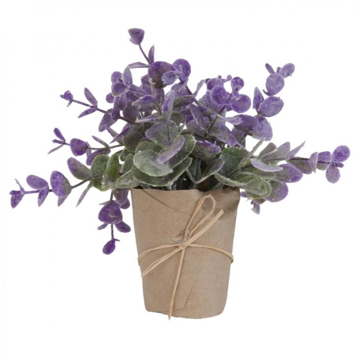 Pflanze im Topf Blume Kunstblume Blumendekoration grün/aubergine ca. 15 cm