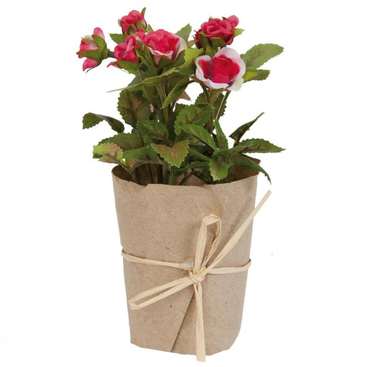 Rose im Topf Blume Kunstblume Blumendekoration rosa ca. 15 cm