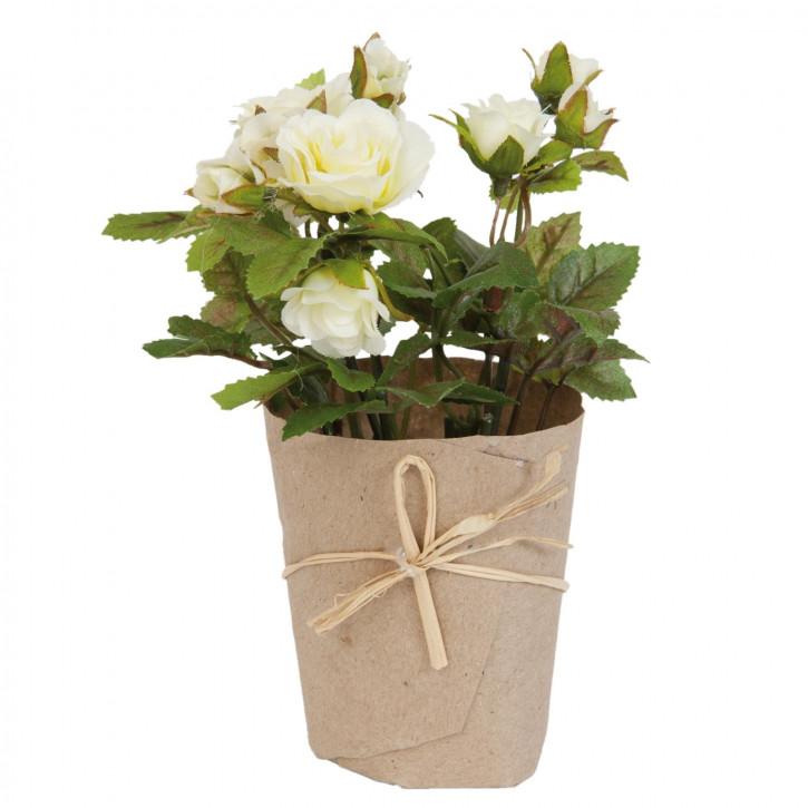 Rose im Topf Blume Kunstblume Blumendekoration weiß ca. 15 cm