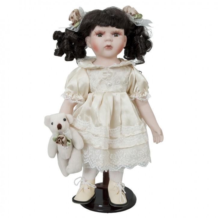 """Dekoration Puppe """"Mädchen mit Teddy"""" 35cm"""