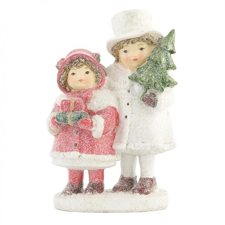 Weihnachtliches Deko Kinderpaar weiss/rot