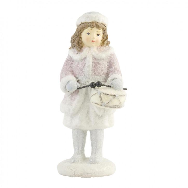 Deko Mädchen-Figur mit Trommel, weiss/rosa