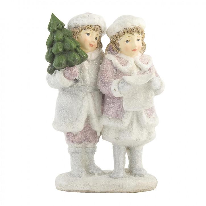 Deko Mädchenpaar-Figur weiss/rosa