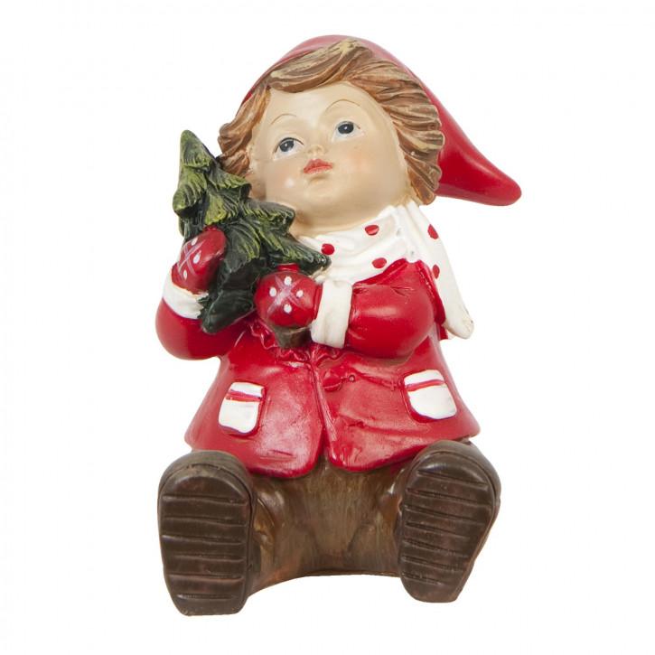 Deko Jungen-Figur sitzend in rot