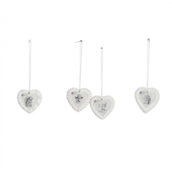 Vier Herzen mit Engelsfiguren zum Aufhängen