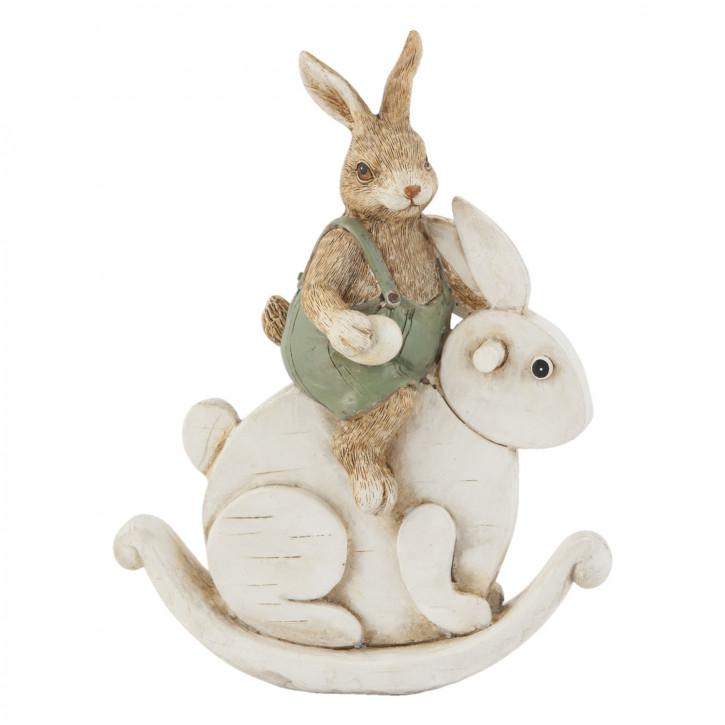 Deko Dekoration Figur Kaninchen Osterhase Hase auf Hase sitzend ca. 16 cm