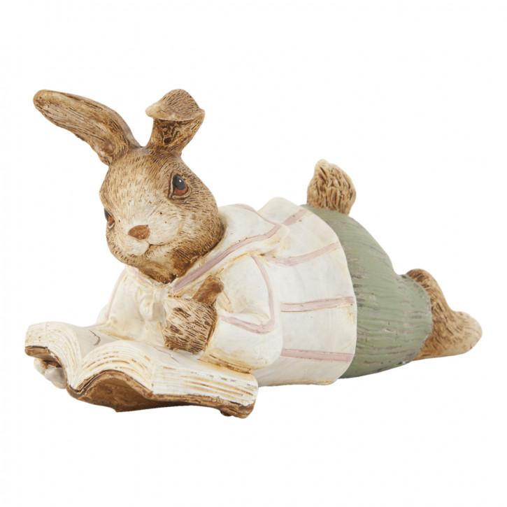 Deko Dekoration Figur Kaninchen Osterhase Hase Buch ca. 11 cm