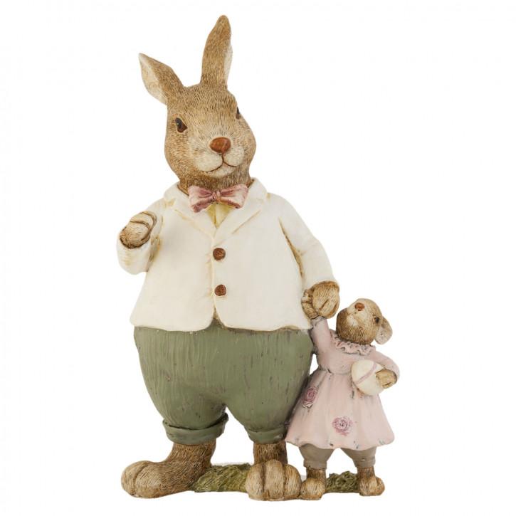 Deko Dekoration Figur Kaninchen Osterhase Hase mit Hasenkind ca. 25 cm