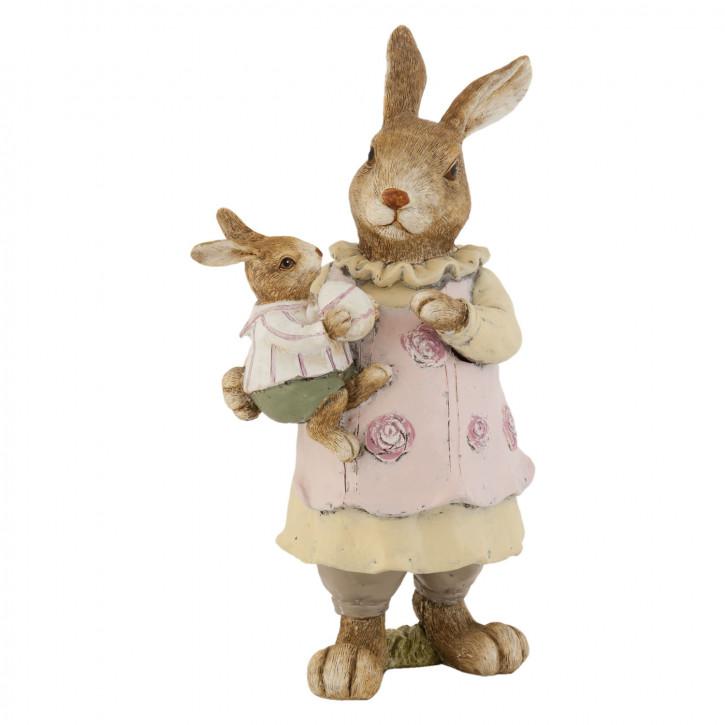 Deko Dekoration Figur Kaninchen Osterhase Hase mit Hasenbaby ca. 25 cm
