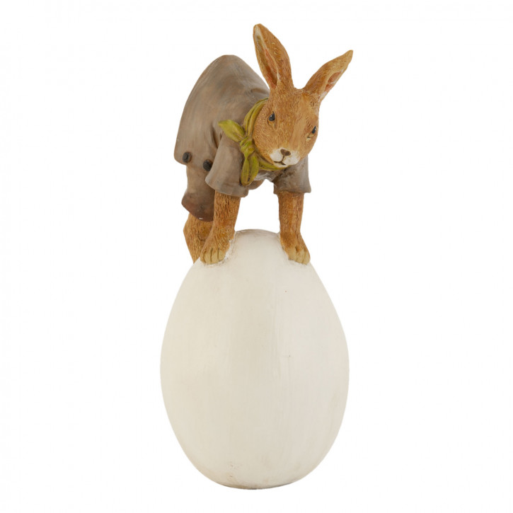 Deko Dekoration Figur Kaninchen Osterhase Hase mit Ei ca. 17 cm
