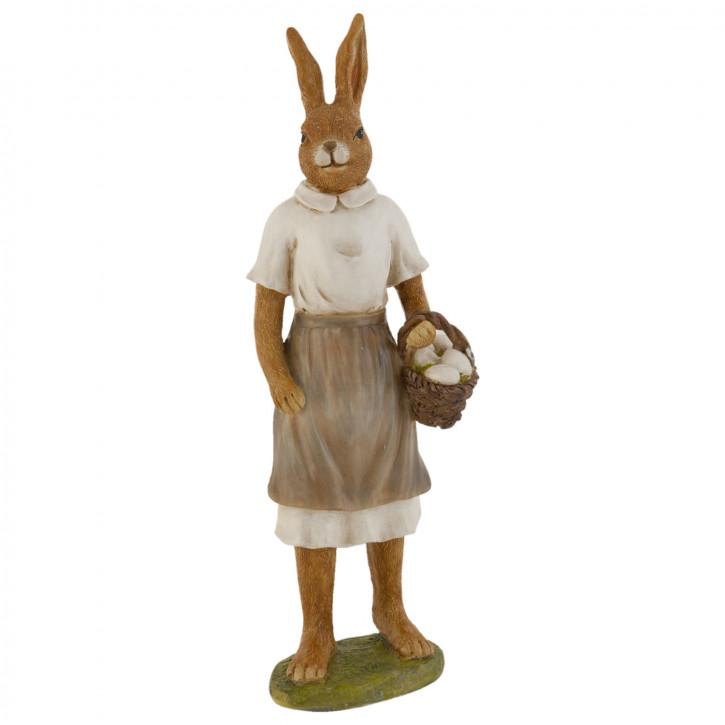Deko Dekoration Figur Kaninchen Osterhase Hase Korb Körbchen Eier ca. 29 cm