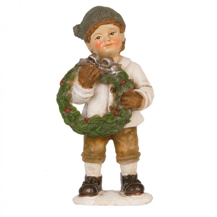 Dekofigur Junge with garland 11 cm