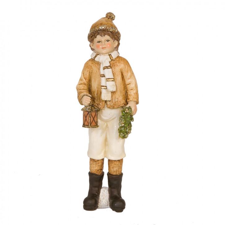 Dekofigur Junge with garland & lantern 23 cm