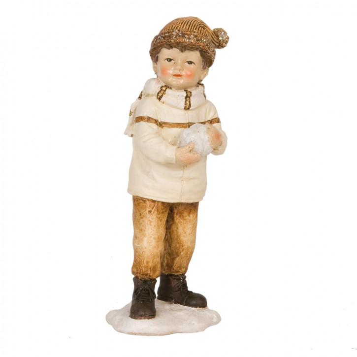 Dekofigur Junge with snowball 16 cm