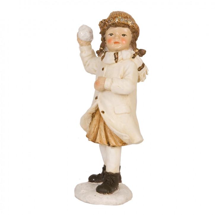 Dekofigur Mädchen with snowball 16 cm