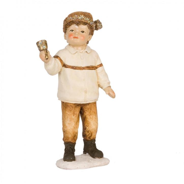 Dekofigur Junge with bell 16 cm