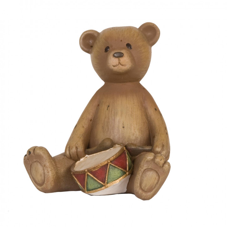 Bear with drum 10x9x11 cm