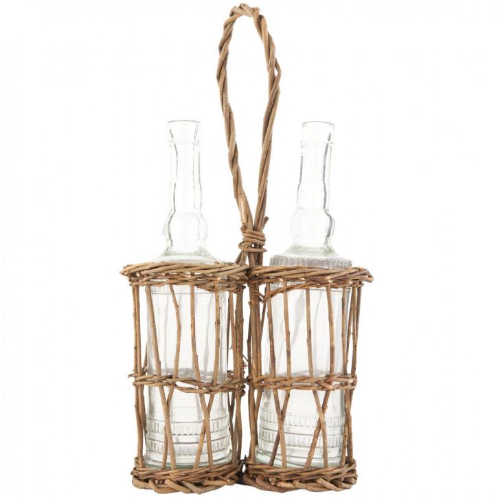 Korb mit 2 Flaschen Glasflaschen Flaschenhalter Rattan ca. 19 x 44 cm
