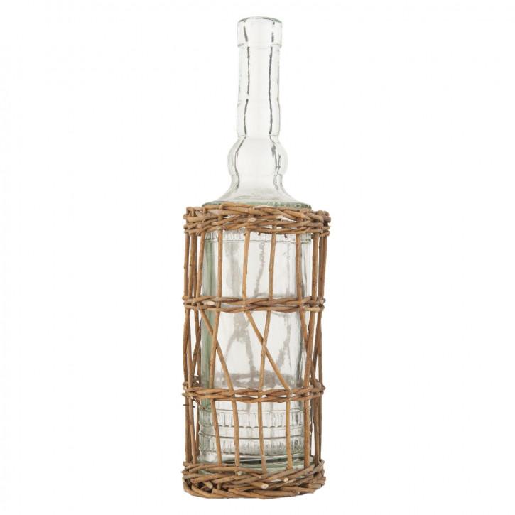 Korb Glasflasche Flaschenhalter Rattan ca. Ø 9 x 32 cm