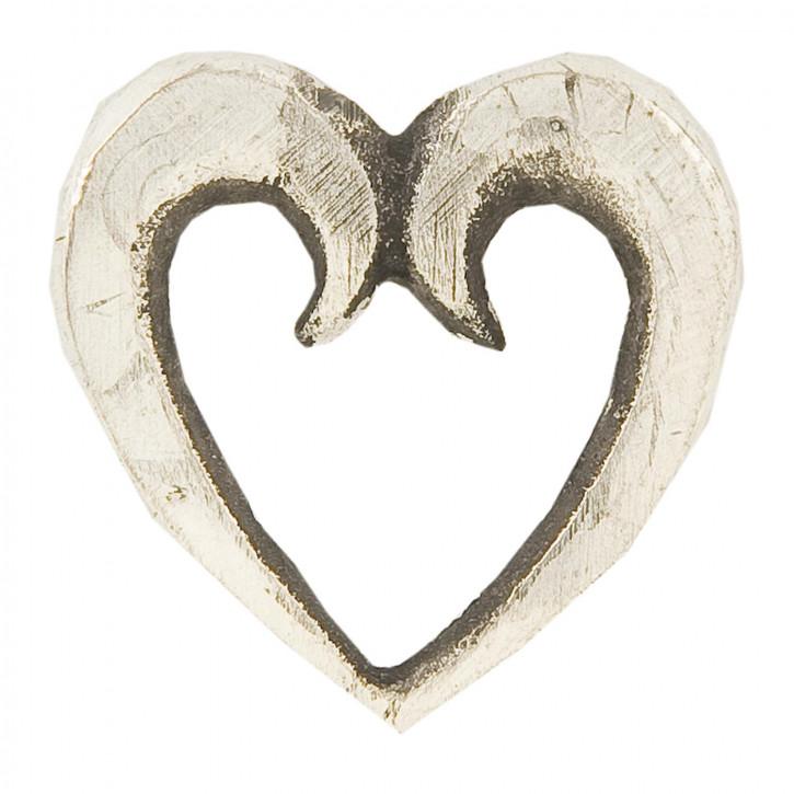 Geschnitztes Herz aus Holz, creme weiß