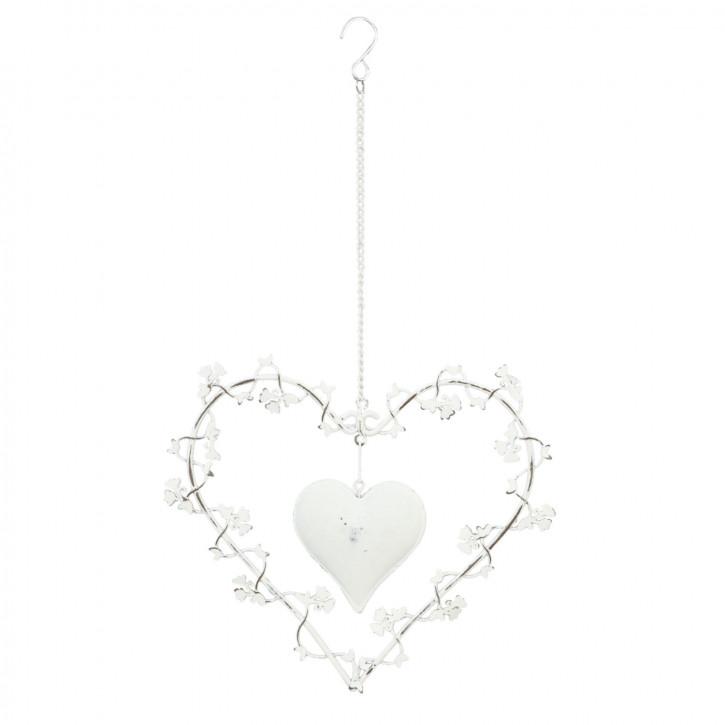 Doppel-Herz zum Aufhängen, in weiß